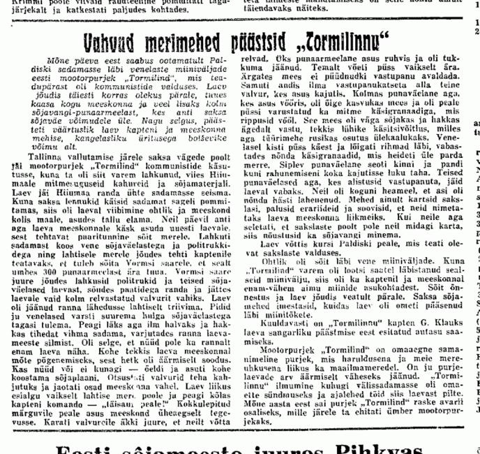 Tormilind, Linna Teataja 18.9.41